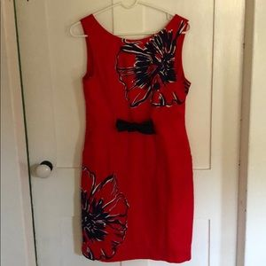 Size 10 Lilly Pulitzer Red & Navy Cotton Dress